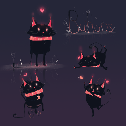 """Buttons"" Character Concept Sheet"