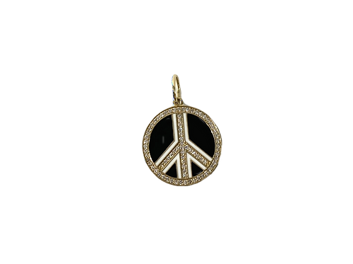 Black Enamel & Diamond Peace Sign Charm
