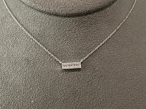 14K White Gold Baguette Bar Necklace