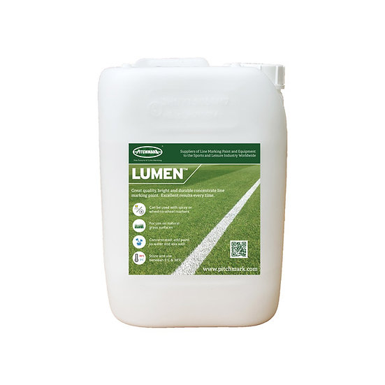 White Lumen concentrate line marking paint from Pitchmark for use on natural grass sports pitches like football and rugby.