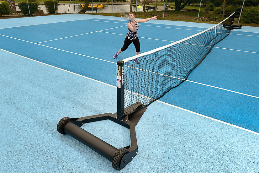 Unique portable integral weighted roller tennis post system from Harrod Sport, designed for all tennis court surfaces.