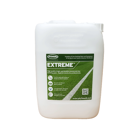 Extreme is a quality white linemarking concentrate paint from Pitchmark for marking lines on sports pitches like football