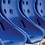 Close up of the blue 'bucket' style seats in the 'Superior' team shelter from Harrod Sport.