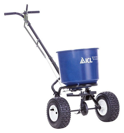 The ICL AccuPro 1000 is a high quality rotary spreader for the application of grass seed or granular fertilizers.