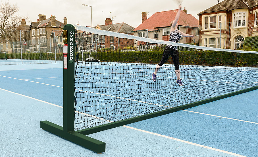 Freestanding Tennis Posts from Harrod Sport, designed to be used on all court surfaces by tennis clubs and schools.