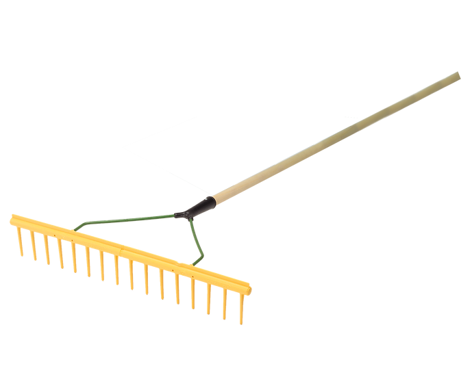 The polypropylene rakes from BMS are a general purpose tough, lightweight rake with wooden handle.  Strong and flexible.