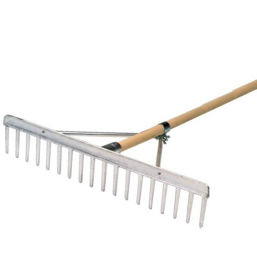 High quality aluminium landscaper rake from BMS with wooden handle, complete with straight edge for levelling.