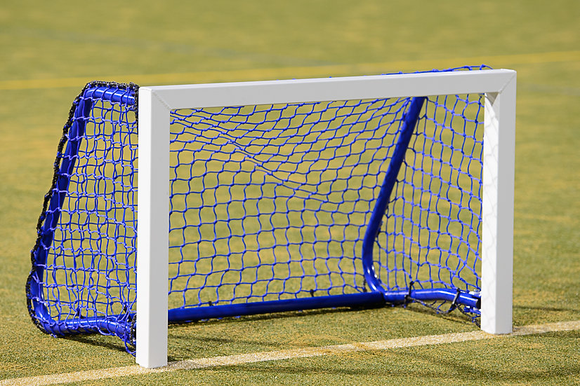 Quality aluminium and steel hockey target goal from Harrod Sport with blue 3mm braided net.