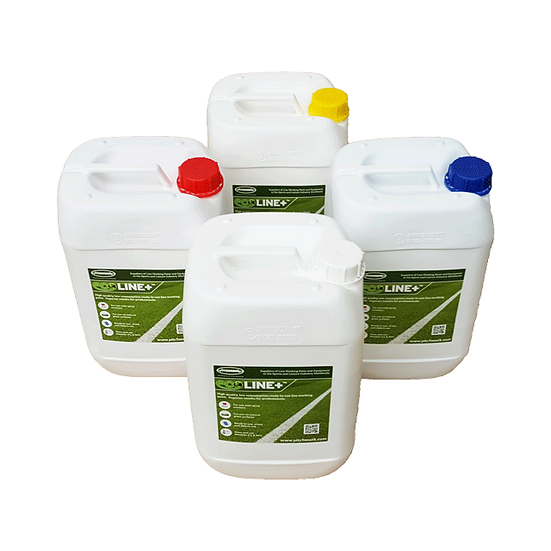 Range of Ecoline Plus ready-to-use line marking paints for use in spray line markers, from 1.5 litres per football pitch
