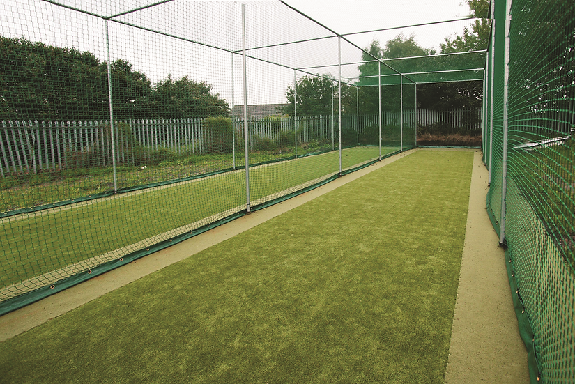 The static net and frame is a custom made cricket net system from Tildenet Sports, made from strong 50mm diameter steel frame