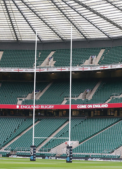 Set of premium heavy-duty 'Millenium' rugby posts from Harrod Sport on the pitch at Twickenham Stadium, home of England Rugby