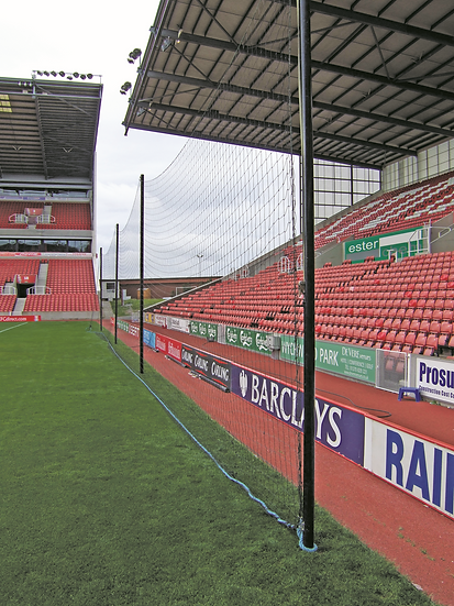 Spectator protection netting designed for pre-match stadium warm ups from Harrod Sport.