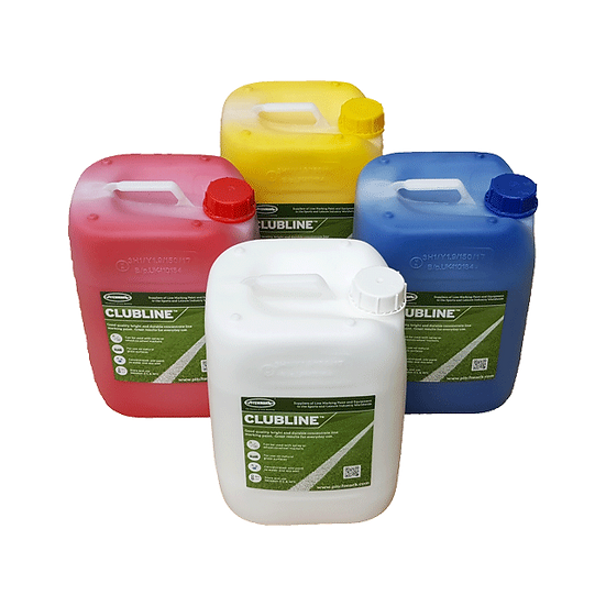 Range of Clubline concentrate line marking paints from Pitchmark, designed for marking out lines on sports (football) pitches
