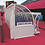 9-seater curved 'Superior' team shelter from Harrod Sport, with blue bucket seats and clear rear and side panels.