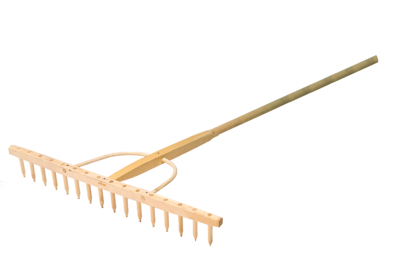 Quality wooden hay rake from BMS for use on loose materials like bunker sand and collecting trimmings. 30 inches (76cm) wide.