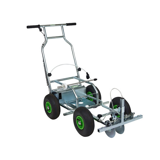 Eco Club quality UK-made spray line marking machine for marking lines on grass sports pitches like football and rugby.