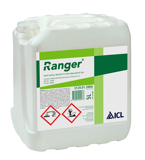Ranger is a professional hard surface cleaner and moss killer for concrete, tarmac and paving. Removes lichens, algae & slime