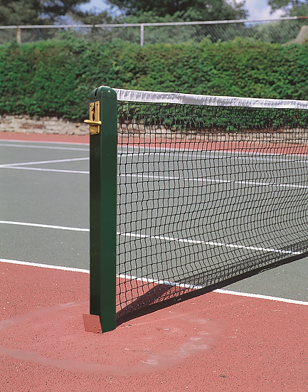High quality premium aluminium 80mm square tennis posts from Harrod Sport, perfect for tennis clubs and schools.