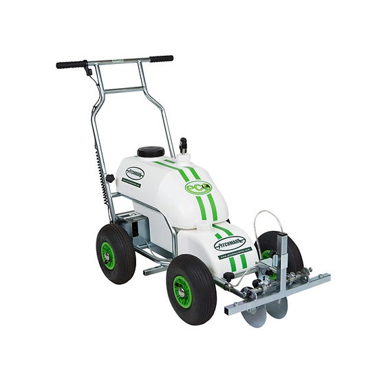 Eco Pro premium quality UK-made spray line marking machine for marking lines on grass sports pitches like football and rugby.