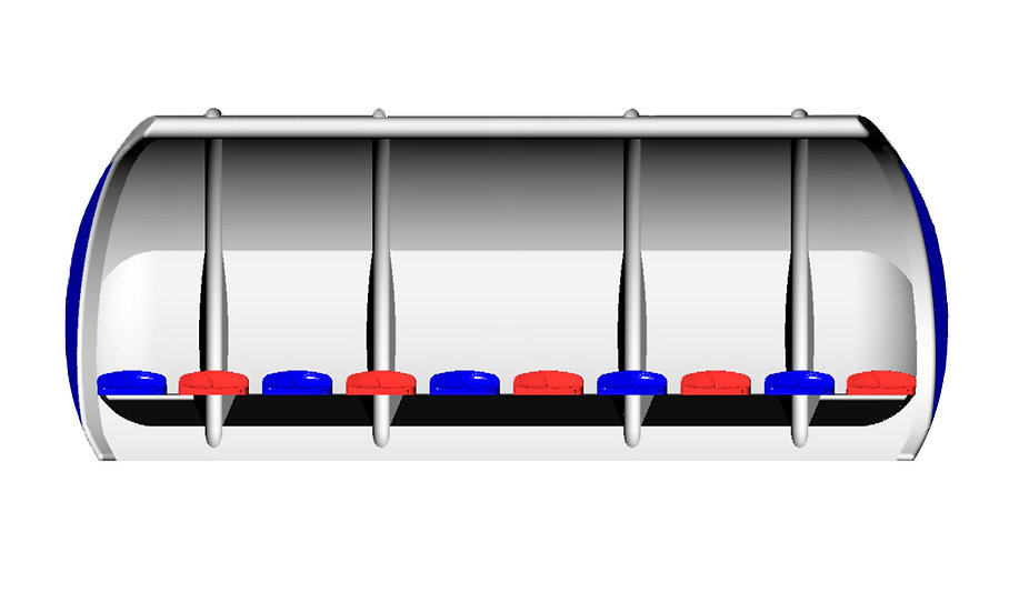White 'Fibretech Pro' curved team shelter from Harrod Sport, with 10 red and blue seats.