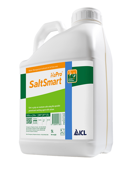 H2Pro SaltSmart is a penetrant surfactant liquid plus calcium macro-polymer to help reduce salt in sports and fine turf.