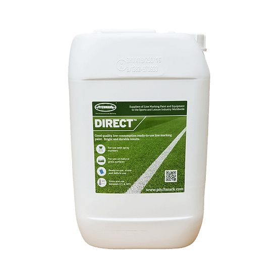 Direct is a quality ready-to-use white line marking paint from Pitchmark for use marking lines on grass sports pitches.