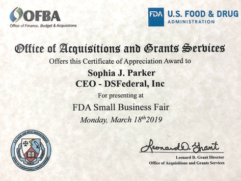 DSFederal's CEO Sophia Parker Receives Recognition for FDA Small Business Fair Presentation