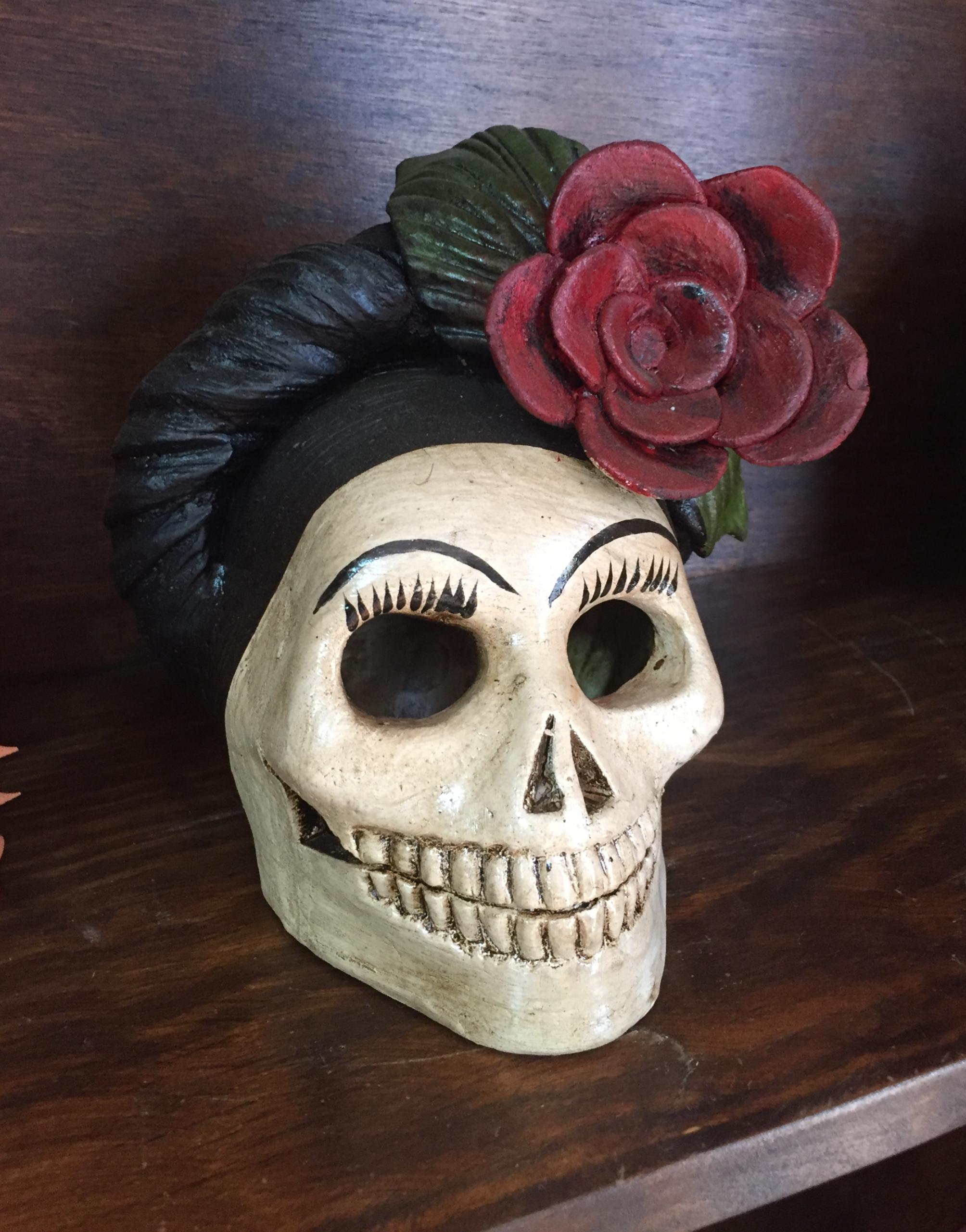 Craneo Frida Catrina con Flor