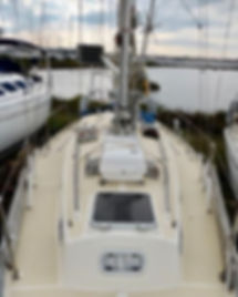 Victoria 34 sailing yacht exterior on deck