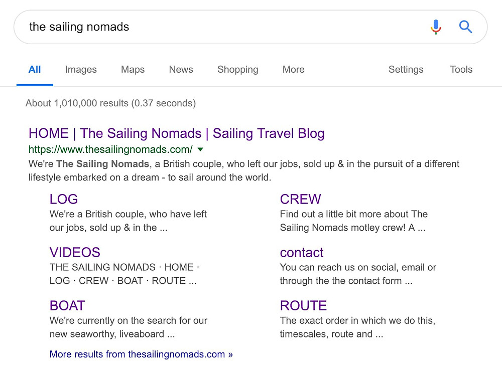 search engine results page for The Sailing Nomads travel blog
