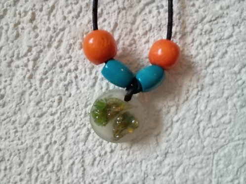 Orange and Blue Flower Necklace