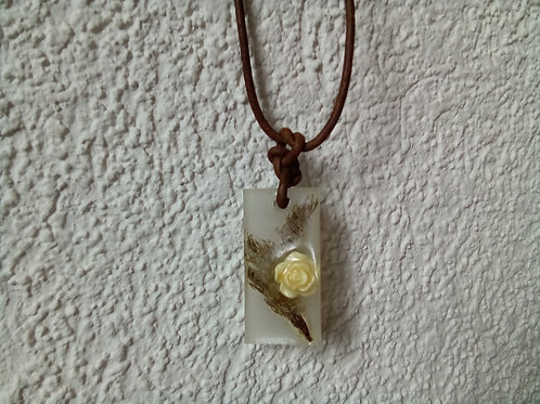 Yellow Rose and Needles Necklace