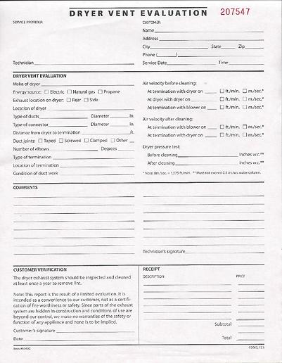 Dryer Vent Service Report