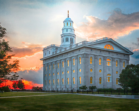 Nauvoo Temple 2013-10 Sunset From the Back FINAL Oil Paint