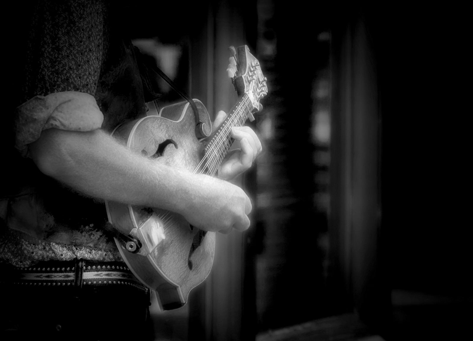 Street Musician with Mandolin REV BW