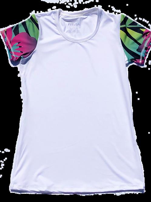 Women's tropical - white neckline shirt