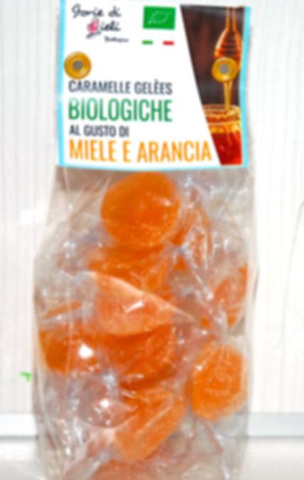 caramelle gelèes biologiche al gusto di miele e arancia