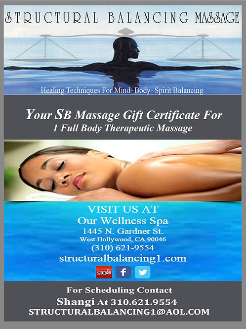 1-Hour Massage B-Spa Gift Certificate