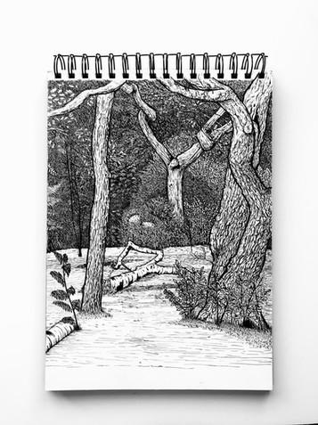 Black and white ink illustration