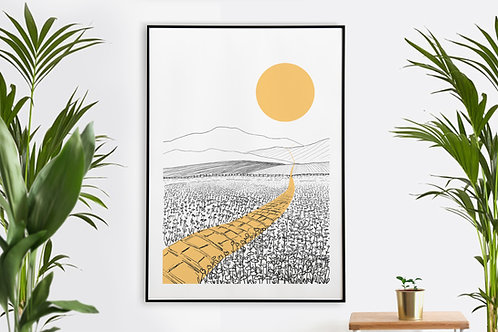 Yellow Brick Road Landscape Illustration Printable Wall Art