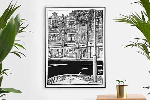 English High Street Wall Art Print