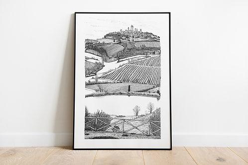 View of San Gimignano Art Print