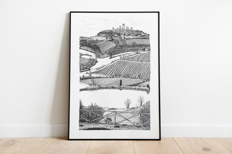 A View of San Gimignano Ink Illustration