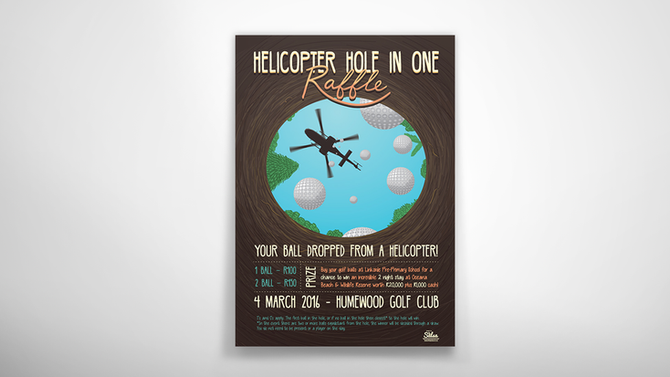 Illustrated Poster: Helicopter Hole In One