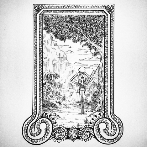 Gum and Timble. Traditional Ink Drawing with ornate frame