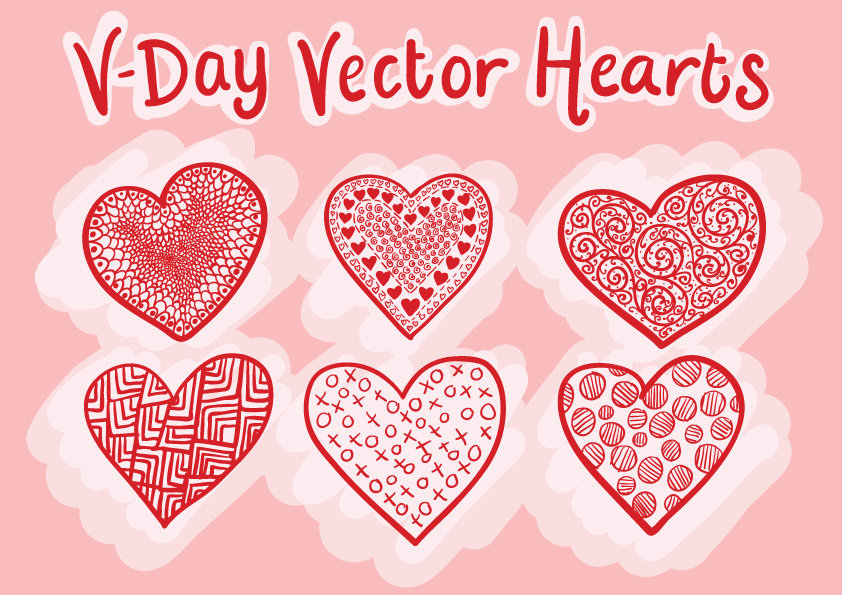 Illustrated Hearts for Valentine's Day
