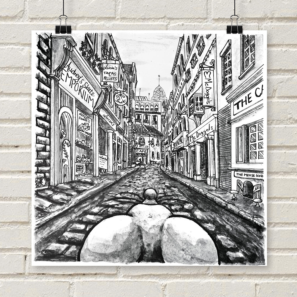 Black and white ink illustration of a mouse in a cobbled street poster print