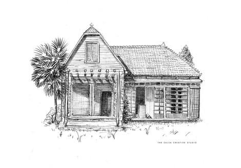 Totoro House Ball Point Pen Illustration
