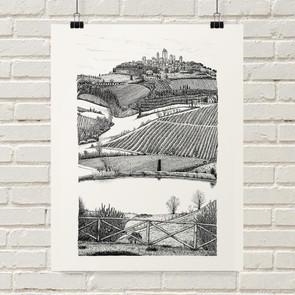 San Gimignano Landscape Illustration Art Print