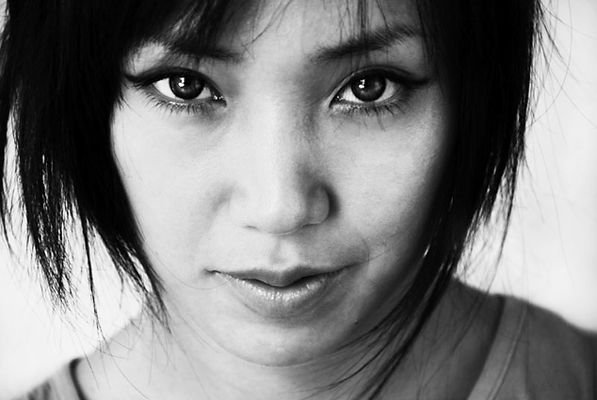 Black and white portrait, asian girl